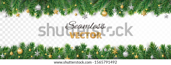 Vector Christmas decoration isolated on white background. Seamless holiday border, frame with gold and silver ornaments. Pine tree branches. For celebration banners, headers, posters.