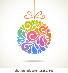Vector christmas decoration made from swirl shapes. Color ball with bow. Original modern circle design element. Greeting, invitation cute card. Festive simple decorative illustration for print, web