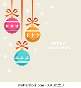 Vector Christmas decoration with ribbon and bow. Greeting, invitation cute card. Original design element. Decorative illustration for print, web