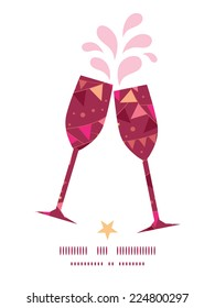 Vector christmas decorations flags toasting wine glasses silhouettes pattern frame