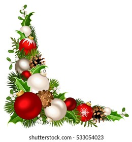 Vector Christmas decorative corner background with red and white balls, fir-tree branches, holly, mistletoe and pinecones.