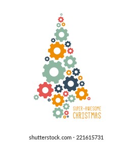 Vector Christmas design. Cogwheel tree. Illustration with place for your text.
