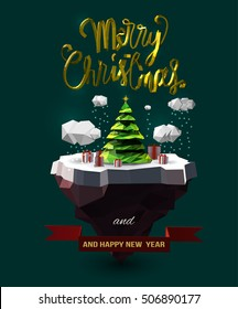 """Vector Christmas design with floating island, clouds, pine tree, gift box, golden 3d """"Merry Christmas"""" text, and New Year wish."""