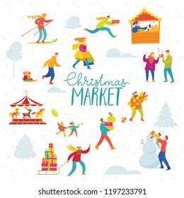 Vector Christmas design for winter holiday season with abstract people doing winter activities.