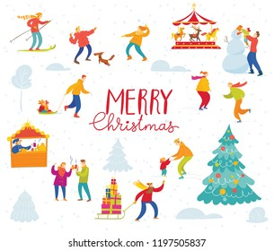 Vector Christmas design for winter holiday season with abstract people doing winter activities on th ewinter holiday fair