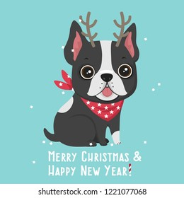 Vector Christmas dog icon. French Bulldog with horns of deer. Illustration of a bulldog puppy in flat style. Text: Merry Christmas and Happy New Year.