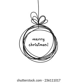 Vector Christmas doodle ball background. Cute hand drawn childish invitation, greeting card. Holiday linear illustration for print, web