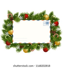Vector Christmas Fir Branches with Postcard isolated on white background