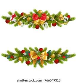 Vector Christmas Fir Decoration with Bow isolated on white background