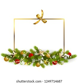 Vector Christmas Fir Decoration with Golden Bow isolated on white background