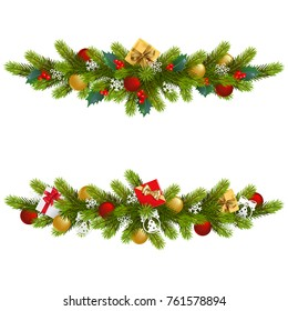 Vector Christmas Fir Decoration isolated on white background