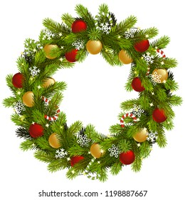 Vector Christmas Fir Wreath with Garland isolated on white background