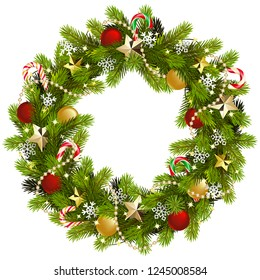 Vector Christmas Fir Wreath with Golden Stars isolated on white background