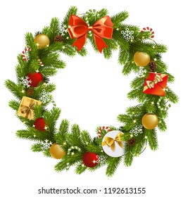 Vector Christmas Fir Wreath isolated on white background