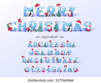 Vector Christmas  font and alphabet. 3d ice letters decorated with new year symbols Santa Claus, tree, hats.