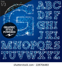 Vector christmas font characters of a shining stars. Slab. File contains graphic styles available in Illustrator