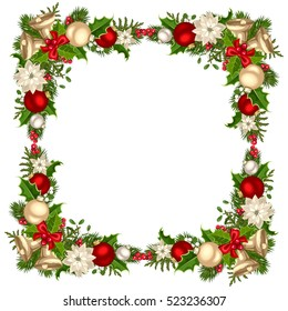 Vector Christmas frame with fir branches, balls, bells, holly and poinsettia flowers.