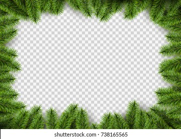 Vector christmas frame with pine branches with space for design.