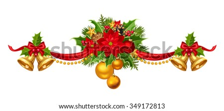 vector christmas garland with red gold and green balls bells ribbon fir