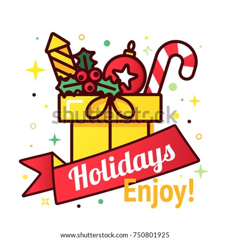 Vector Christmas Gift Box Sale Tag Stock Vector (Royalty Free ...