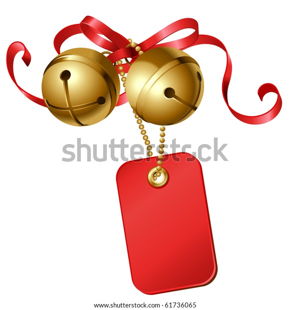 vector christmas gift card decorated with jingle bells