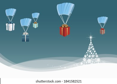 vector of christmas gifts dropping from sky with face mask as parachute