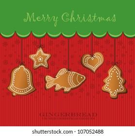 vector christmas gingerbread card