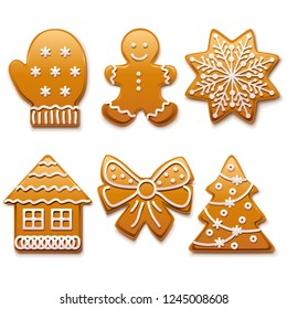 Vector Christmas Gingerbread Icons isolated on white background