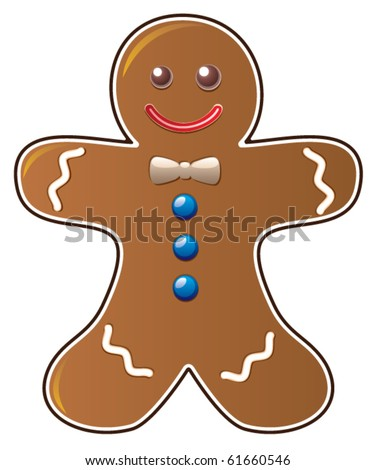 vector christmas gingerbread man cookie cute xmas cartoon character with a smile baked ginger