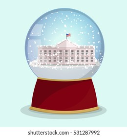 Vector Christmas Glass globe with the falling snow and White House in it.Washington DC