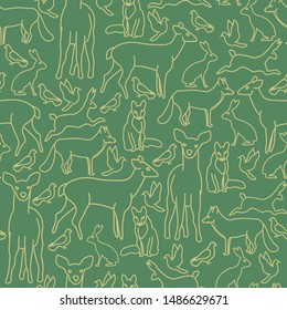 Vector Christmas Gold Deer Fox Rabbits Doves in Gold on Green Seamless Repeat Pattern