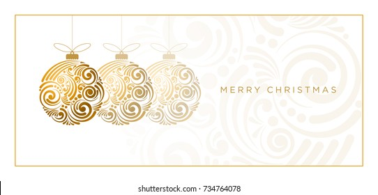 Vector Christmas greeting card. Abstract swirl Christmas ball on white background.