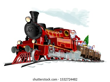 Vector Christmas greeting card with cartoon Santa Express train