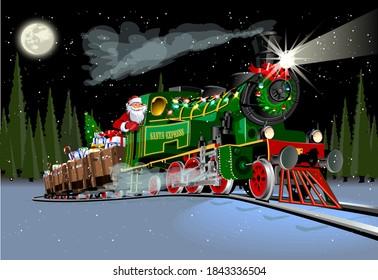 Vector Christmas greeting card with cartoon Santa Express train