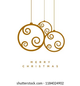 Vector Christmas greeting card design with abstract swirl Christmas balls.