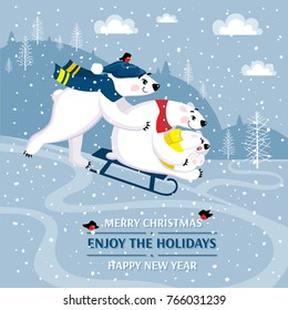 Vector Christmas greeting card with family polar bears in a cartoon style. Funny smiling bears on a winter walk. Background of a winter landscape. Merry Christmas congratulation with cute happy bears