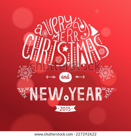 Vector christmas greeting card new year stock vector royalty free vector christmas greeting card with new year lettering illustration on red background 2015 eps10 m4hsunfo