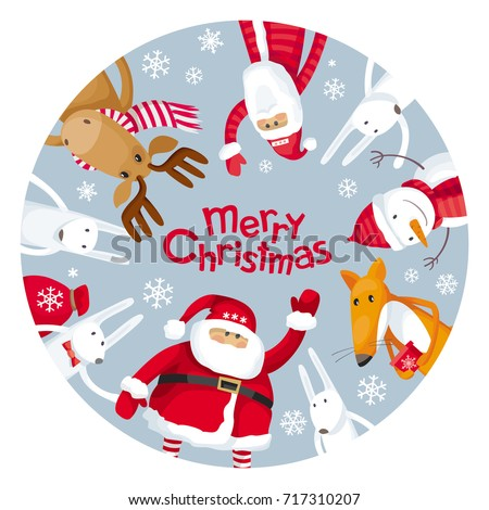 Vector Christmas Greeting Card Round Plate Stock Vector (Royalty ...