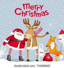 VINTAGE MERRY CHRISTMAS HANGING SANTA SACK BAG~Fabric Country//Deer//Victorian