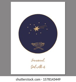 Vector Christmas greeting card with simple child like drawing of newborn Jesus in manger, stars  on dark blue background and words Immanuel, God with us.