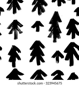 Vector Christmas hand-painted seamless pattern with ink brush strokes. Abstract background. Christmas tree, New Year.