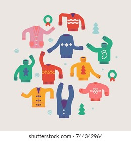 Vector Christmas holiday season round shaped design element made of cozy funny ridiculous sweaters, cardigans, pullovers and jumpers. Ideal for Ugly Sweater party invitations, posters and flyers
