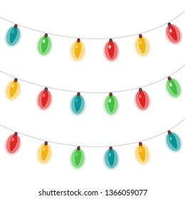 Vector christmas holidays glowing lights garlands
