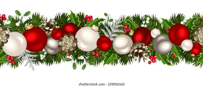 Vector Christmas horizontal seamless background with fir-tree branches, red and silver balls, cones, holly and mistletoe.