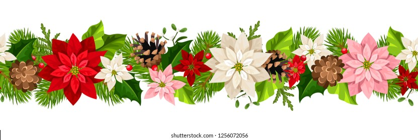Vector Christmas horizontal seamless garland with colorful poinsettia flowers.