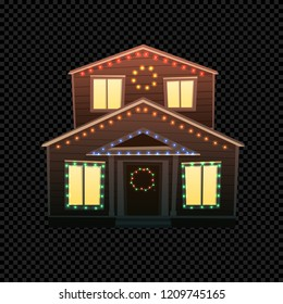 Vector Christmas House Isolated on Dark Transparent Background. Festive House with Bright Xmas Lights in Different Colors. Cartoon Illustration of Small Building. Front View.