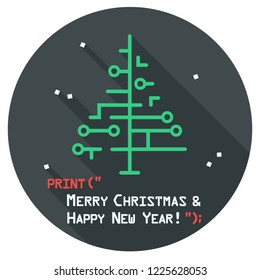 Vector Christmas icon New Year tree made of signs. New year illustration in flat style. Text: Merry Christmas and Happy New Year.