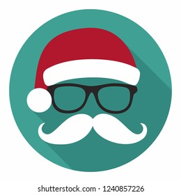 Vector christmas icon Santa Claus. Santa Claus in glasses, New Year's hat and a mustache. Christmas illustration in flat style.