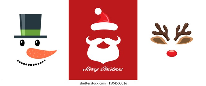 vector christmas icon set of snowman, santa claus and red nosed reindeer, rudolph faces. funny character symbols for merry christmas and new year holiday illustrations