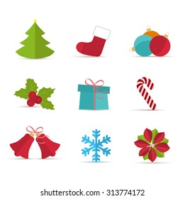 Vector Christmas icons on a white background